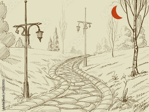 Park alley vector sketch - 43263930