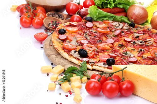 delicious pizza, vegetables and salami isolated on white.