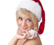 Beautiful smiling woman in Santa Claus hat, portrait