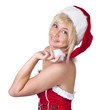 Beautiful smiling woman in Santa Claus clothes, portrait