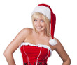 Beautiful smiling young woman in Santa Claus clothes