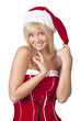 Beautiful smiling woman in Santa Claus clothes