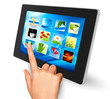 Hand holding touch pad pc and finger touching it  icons