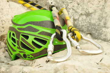 Climbing helmet and carabiners