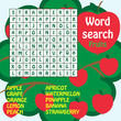 word search game. Fruits
