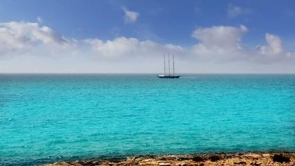 Balearic formentera island near Ibiza sailboat sailing