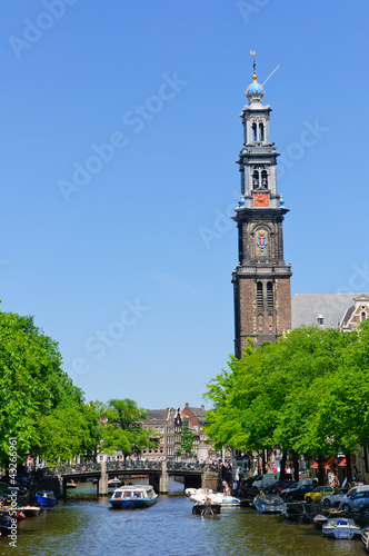Westerkerk and Prinsengracht in Amsterdam, Netherlands