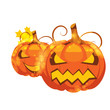 vector illustration of halloween pumpkins on white background