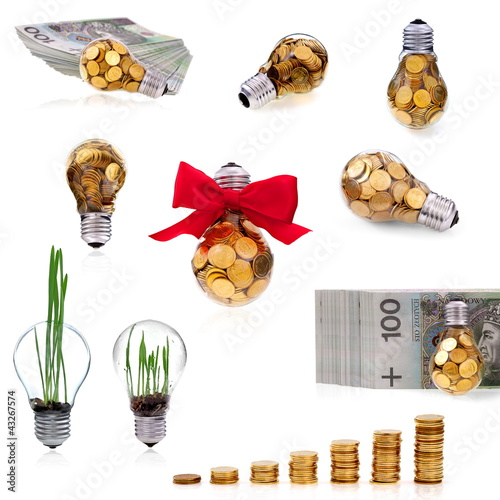 Traditional glass bulb with many golden coins collection