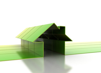 Green 3d houses