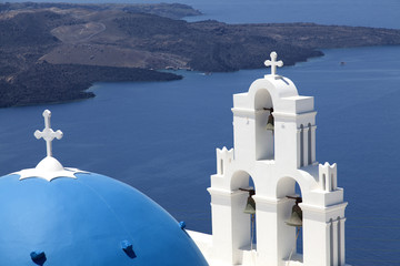 Blue domed church on Santorini