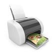 Printer 3D. Print  of photos. Icon isolated on white