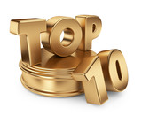 Golden top 10 on podium. 3D icon isolated on white background