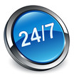 24/7 icon 3D blue button