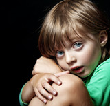 little girl portrait on dark background - insomnia nightmare poster