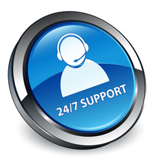 24/7 support icon 3D blue button