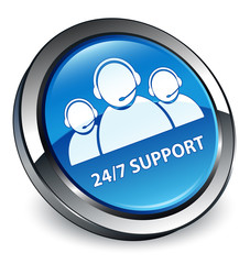 24/7 support team icon 3D blue button
