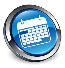 Calendar icon 3D blue button