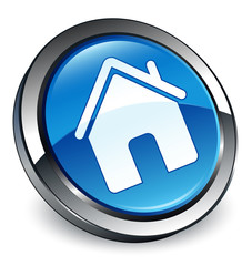 Home icon 3D blue button
