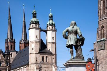 Halle - Saale Händel Statue vor Marktkirche