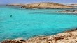 Balearic formentera island Illetes beach with turquoise water