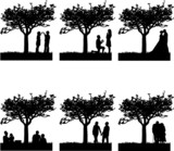 Stages of development at different stages of life silhouette