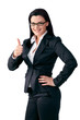 Business woman successful, thumb up