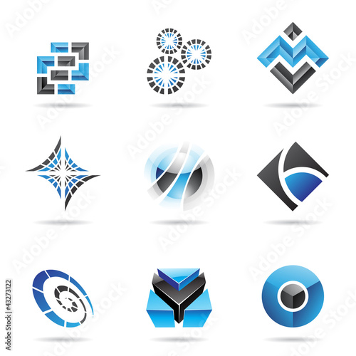 Abstract blue and black icon set 13