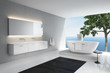 Grey white, modern elegant luxury bathroom interior, sea view
