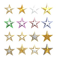 Set  stars on white background