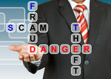 Businessman with the danger of fraud, scam, and theft poster
