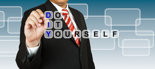 Businessman with wording Do It Yourself