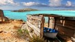 Illetes beach aged boat wooden grunge house typical balearic