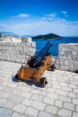 A cannon on defensive walls of Fort Lovrijenac, Dubrovnik