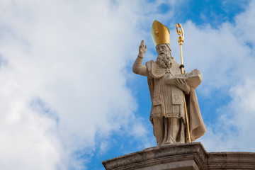 A statue of St. Blaise holding a model of Dubrovnik
