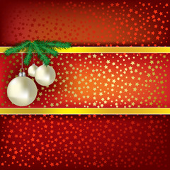 Christmas balls and stars red vector background
