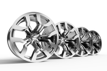 Car alloy wheels isolated over white - 3d render