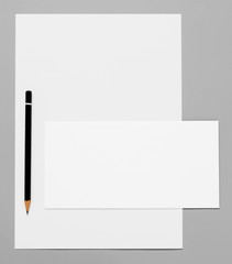 Blank stationery and pencil
