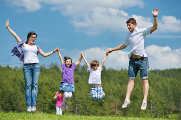happy young family have fun outdoors