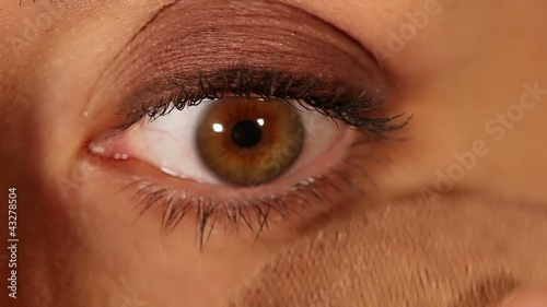 Female eye expression closeup - face powder application
