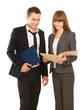 A portrait of a businesswoman and a businessman