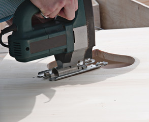 sawing the shape of the heart