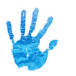 High resolution conceptual blue paint hands isolated on white