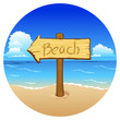 Wooden sign beach on sea background