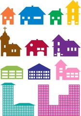 various house constructions in different colors isolated