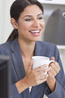 Happy Businesswoman Woman Drinking Tea or Coffee