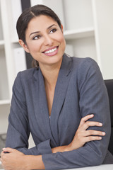Happy Smiling Hispanic Businesswoman Woman
