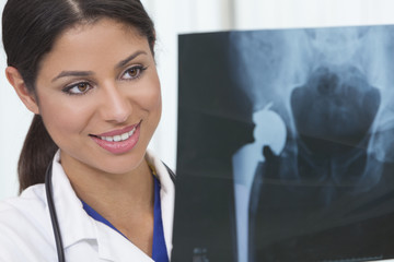 Female Woman Hospital Doctor with X-Ray