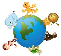 various animals on earth globe