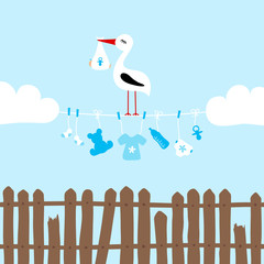 Stork On Clothes Line Baby Symbols Boy Clouds Fence